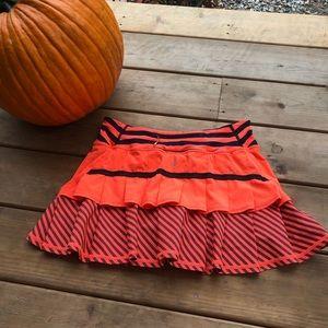 Lululemon Pacesetter Skirt Orange and Inkwell Blue